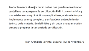 Opiniones de alumnos acerca del Curso Online PMP/CAPM de CDP School