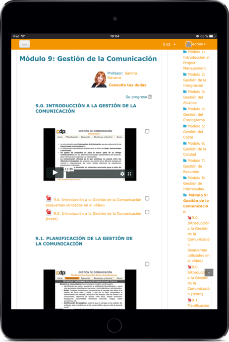curso online certificacion pmp/capm en tablet